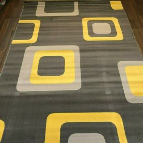 Modern Approx 8x5FT 160x230cm Woven Backed Squares Quality Rugs Greys/Mustard